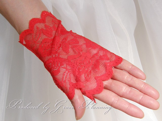 Lace shorts (rac) gloves ☆ motif fingerless red red (g253) gl071248r