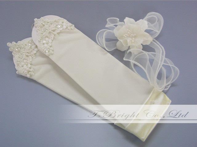 Medium ♪ fingerless gloves Pearl ☆ 30 cm off-white (g207) ☆