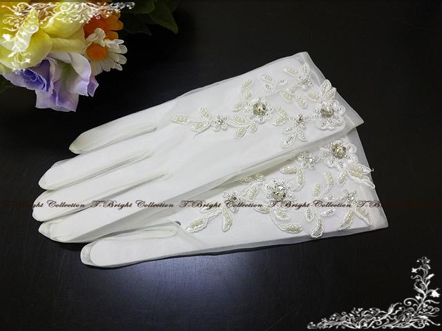 DM flight ★ (bcd) dress gloves ★ short gloves rhinestone & Paul vising organzirwadding gloves ☆ off-white ☆ fingers and dress gloves (g271/gl300)
