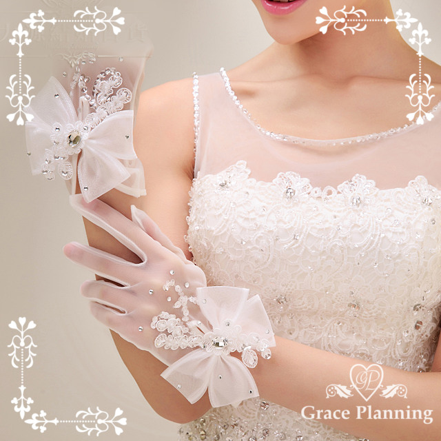 Gloves dress gloves off-white ☆ 24 cm favor Ribbon lace embroidery Bridal Gloves ☆ (gl071279)