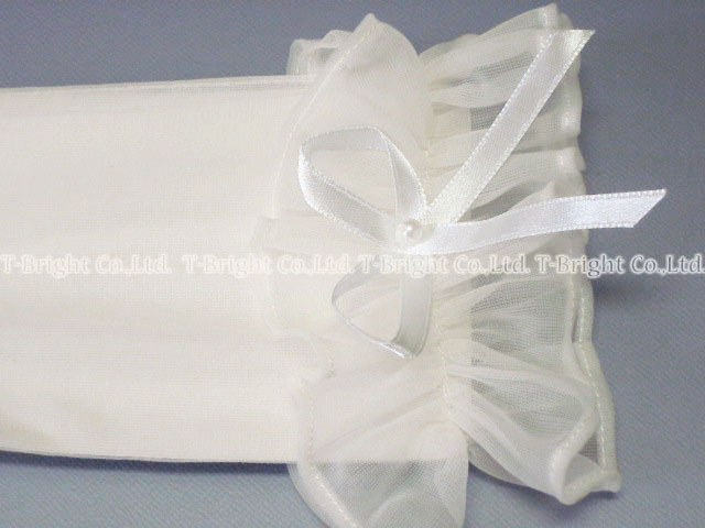 Wedding gloves (off white) Lace Gloves with Ribbon list frill short gloves (g246)