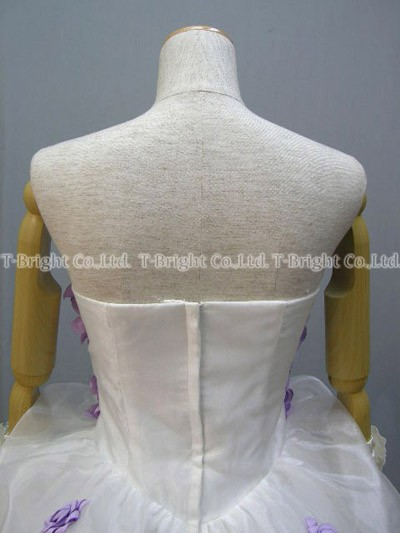Custom flower plenty of! cute fluffy organza prom dress ★ short and medium ★ mini dress (white x purple) ★ 51368