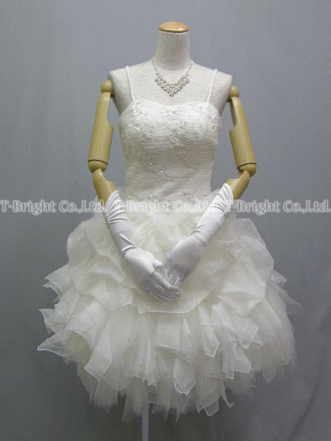 Size order organza & tulle ♪ Cute wedding dress ★ short-length ★ 51983