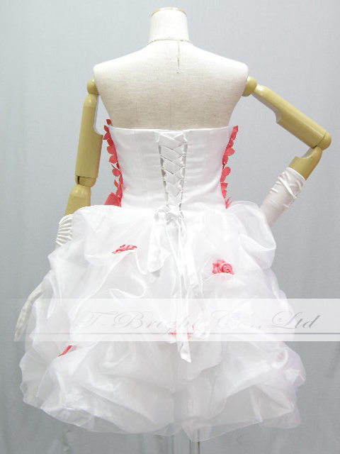 Back laceup colored racesless ★ minidress ★( white X coral pink) party dress minidress ★ shortstop length medium length ★ 53229 which is Cute of the size order chest floret