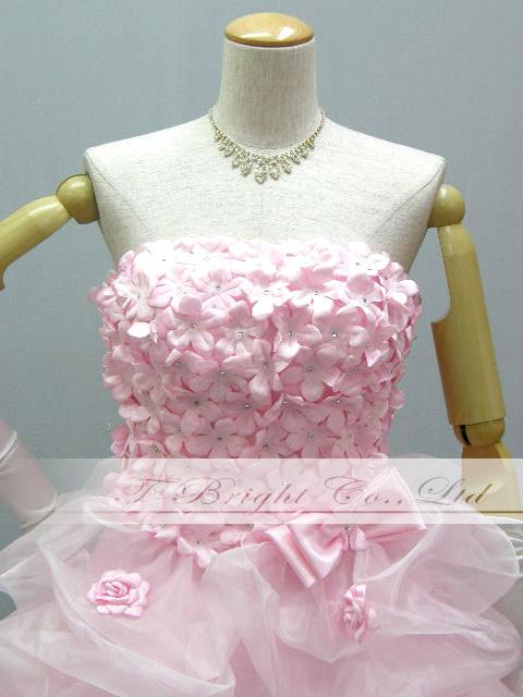 A Cute custom chest flower back lace up dress ★ minidress ★ (Pink) medium short-length prom dress ★ 53235