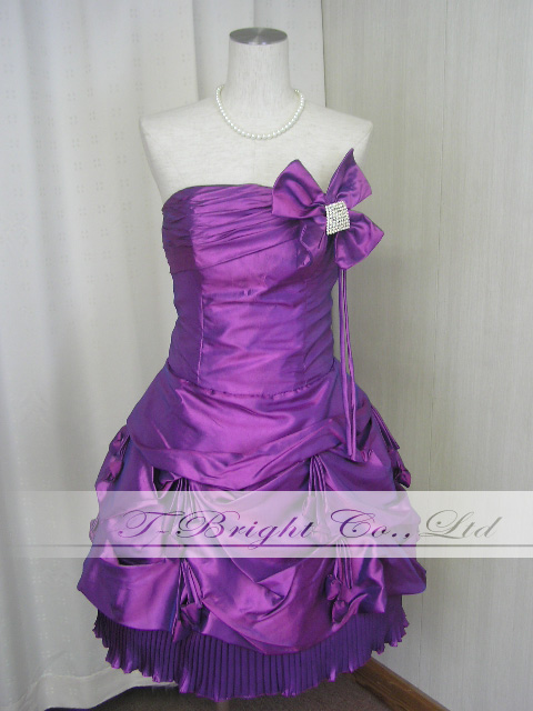 Size order with linestrincosage ♪ hem pleated skirt ★ party dress ★ minidress ★ (purple) wedding * specified * 01758 size