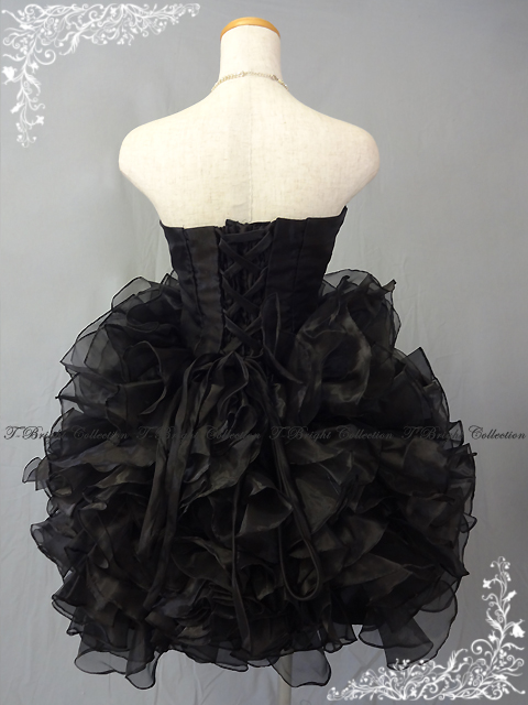 Organdy frill ♪ back laceup minidress party dress 9 - 11 same day shipment for the colored racesless (black black) minidress second party! 54317black