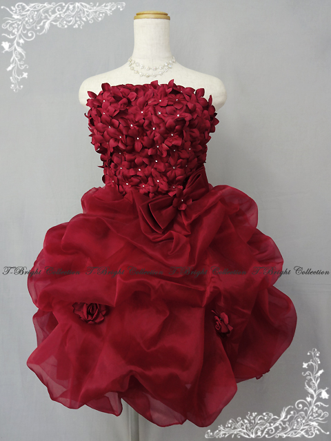 Minidress wine red chest floret is ★ medium dress ★ 7 /9 /11 ★ (wine red) 51073-wr in the knitting that it is Cute