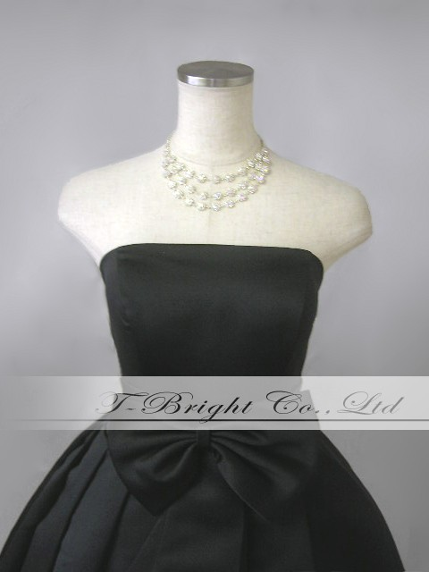 With custom Ribbon ♪ cute party dress ★ short-length ★ (black) wedding * specified * 51665 size