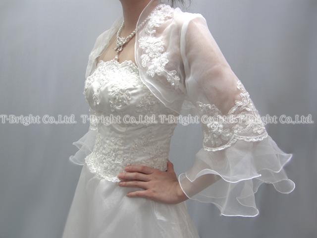 Wedding Bolero ♪ Bellerive organza Bolero ★ S to M size ★ off-white (bo001)