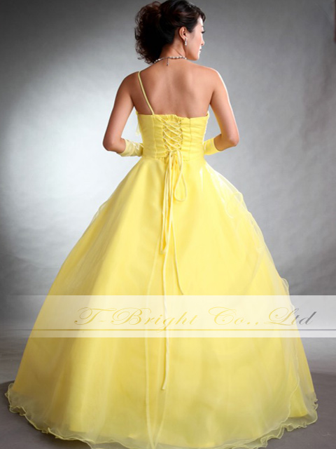 Size order flower corsage & back laceup organdy colored racesless ★ princess line ★ (yellow) tb197