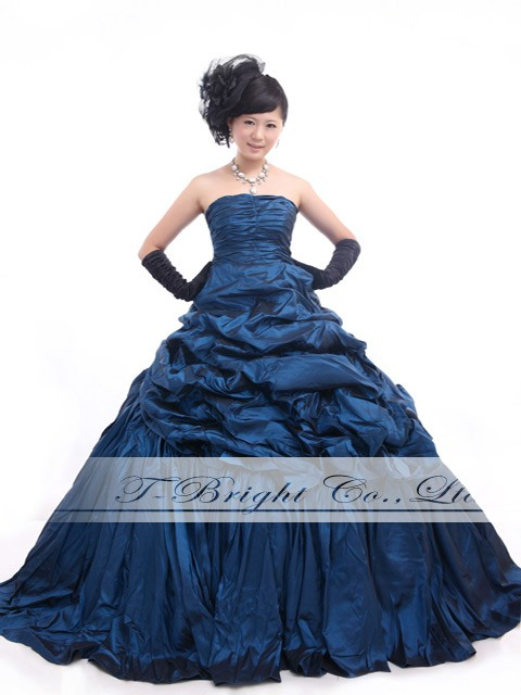 Shirring dress sizes dress wedding Navy back Ribbon (blue) tb470