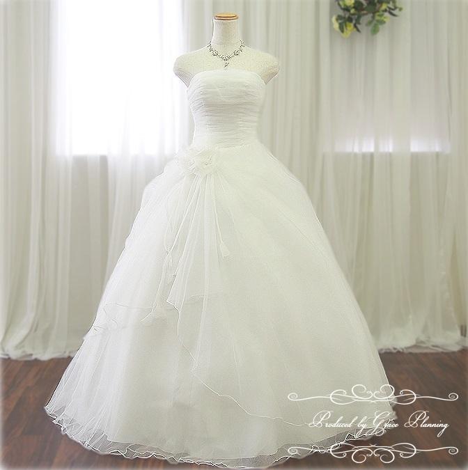 ウエディングドレス 7号9号11号 オフホワイト プリンセスライン 高級感があるシンプルドレス ウェディングドレス Wedding Dress 結婚式 披露宴 二次会 白ドレス フォーマル パーティー ロングドレス ステージ衣装 (01858-3)