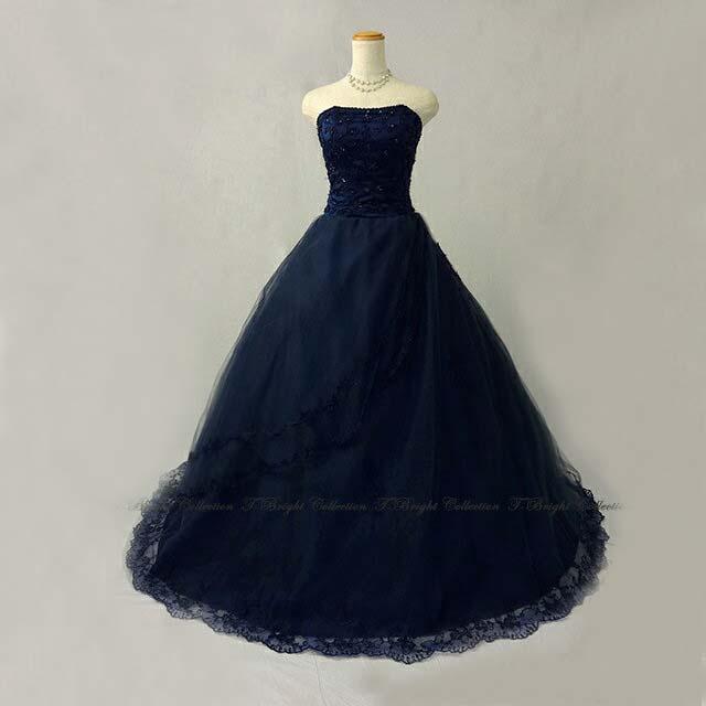 a28ccc2d6fdf0 サイズオーダー 結婚式ドレス カラードレス ネイビーブルー プリンセス ...
