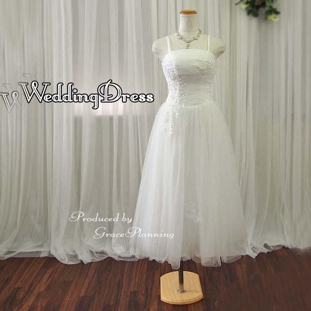 【サイズオーダー】 お客様サイズでお作りします 色変更できます ウェディングドレス ミモレ丈 5号~25号(オフホワイト) 花嫁 パーティードレス 結婚式 海外挙式 二次会 53331mi
