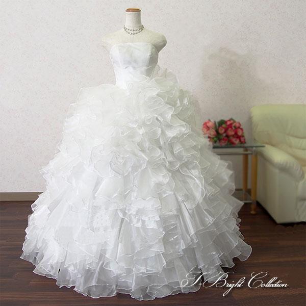 ウエディングドレス オフホワイト 5号7号9号11号 フリルたっぷり 可愛い プリンセスライン ロングドレス 結婚式 披露宴 フォトウェディング ys52115