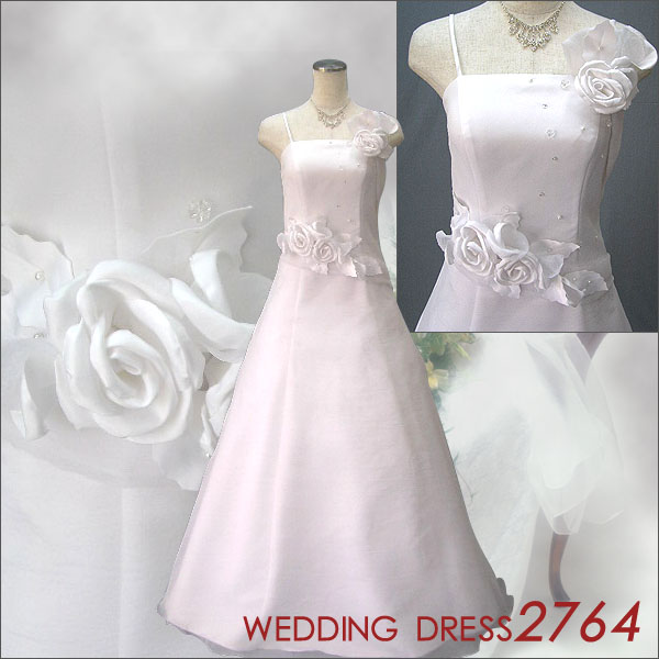 ♪ Shin pull wedding dress ★ A-line ★ 2764 with the size order corsage