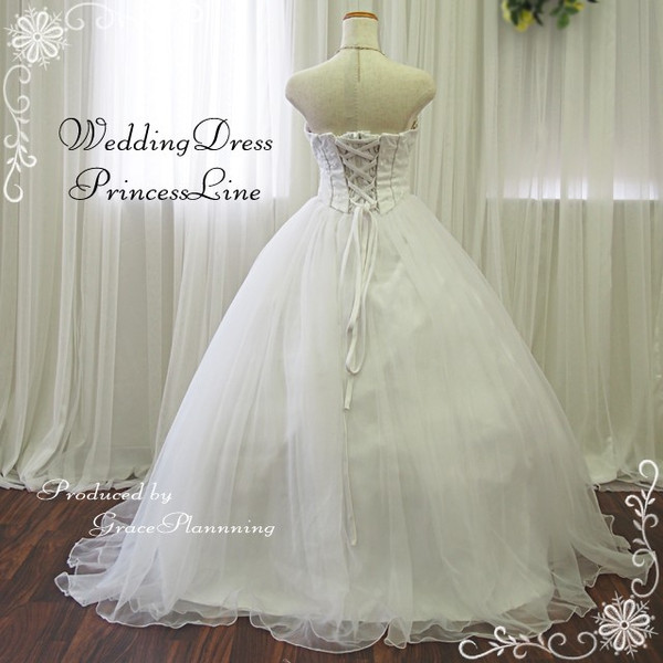 Order size neck ruched ♪ beautiful wedding dress ★ Princess ★ 53023