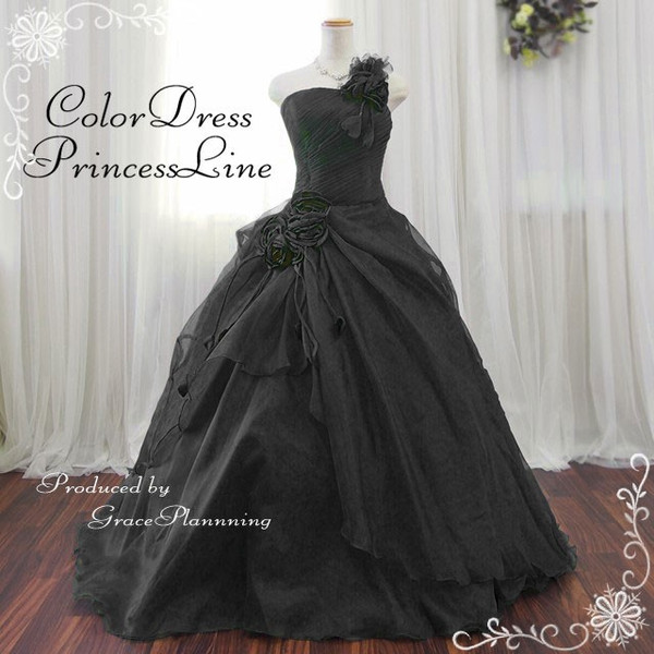 Dress strapless black back lace-up neckline ruched ♪ flower corsage soft organza ★ 7-9-11-13 ★ 127