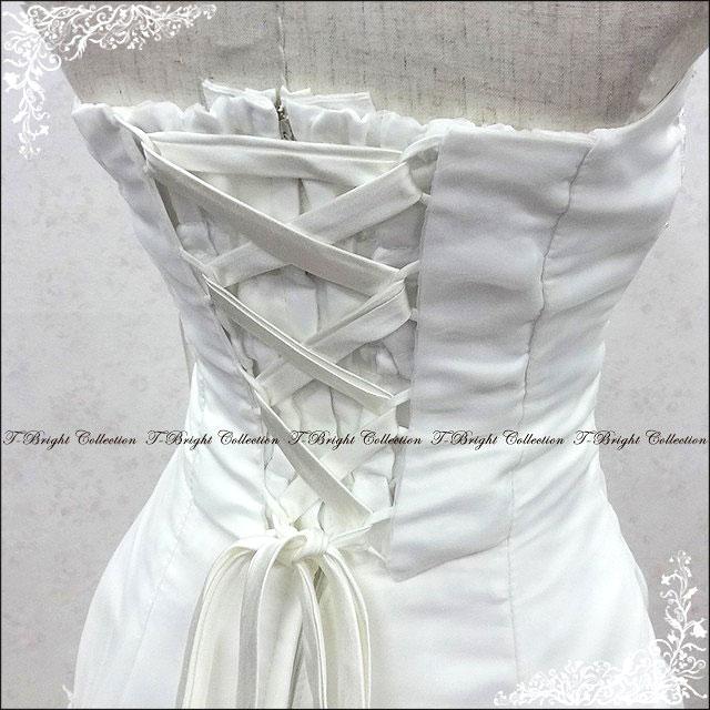 Simple dress wedding dress (off white)-popular! a-line neckline embroidery wedding dress ★ soft A line by line ★ 5-7,-9,-11,-13 No. 30086