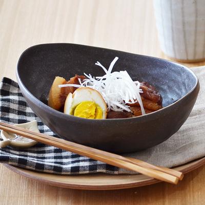 和食器 和の楕円鉢(黒いぶし)