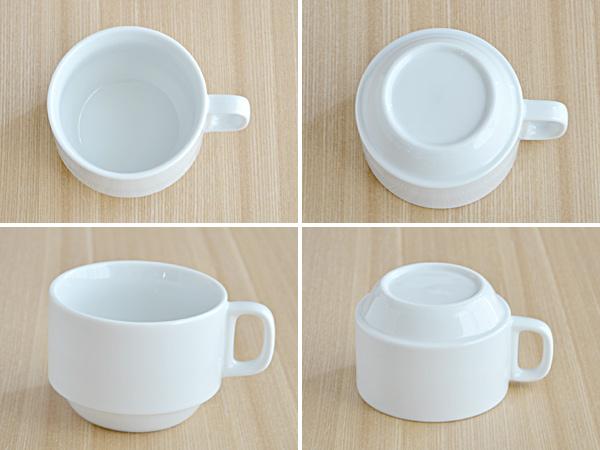 スタック コーヒーカップ(ホワイト)白いコーヒーカップ/シンプルコーヒーカップ/カップ/マグ/コップ/兼用カップ/業務用/ポーセリンアート/カフェ風/シンプル/おしゃれ
