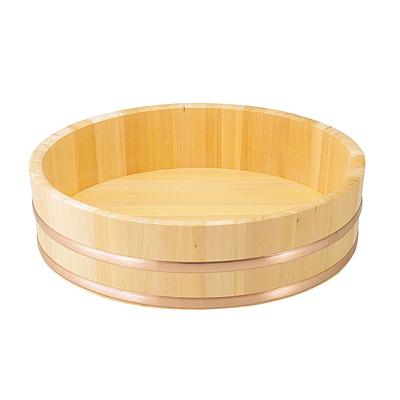 椹 大半切(銅タガ・底竹補強付) 直径66cm      日本製/木/木製/ご飯/おひつ/業務用