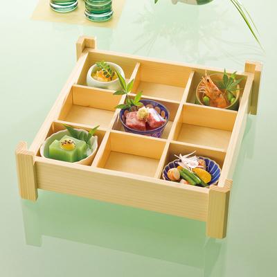 白木隅足 九ツ切仕切盛込木製 日本製 お弁当箱 おべんとうばこ ナチュラル ボックス 業務用