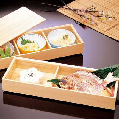 檜・二段長手弁当木製 日本製 お弁当箱 おべんとうばこ ナチュラル ボックス 業務用