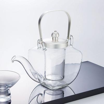 硝子・角ちろり(シルバー)       日本製/硝子製/ガラス/ちろり/酒器/冷酒/業務用