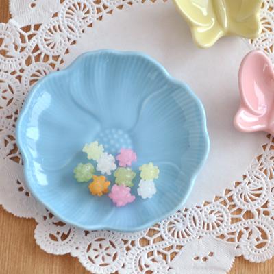 パステルカラー お花の小皿 (ブルー)