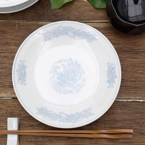 花鳥染付 中華丸皿 18.5cm