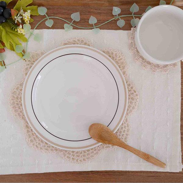 パン皿 16.3cm 2色ブラウンボーダー
