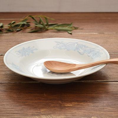 花鳥 染付 中華深皿 20.5cm