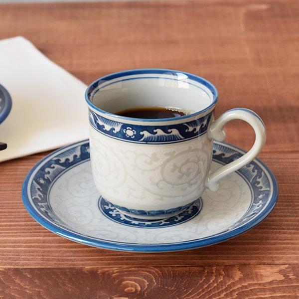 コーヒーカップ&ソーサー 波ライン唐草紋