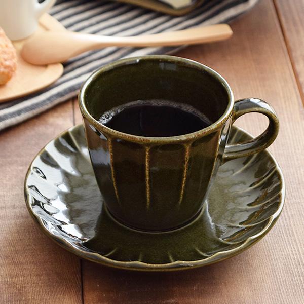 コーヒーカップ&ソーサー しのぎ オリーブ