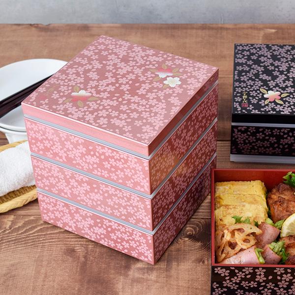 重箱 和モダンオードブル 桜柄 スクエア3段重 14cm ピンク