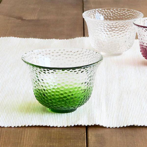 ぐい呑 ガラス製 水玉クリア×グリーン