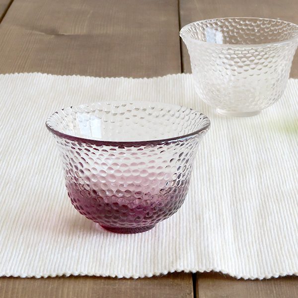 ぐい呑 ガラス製 水玉クリア×ピンク