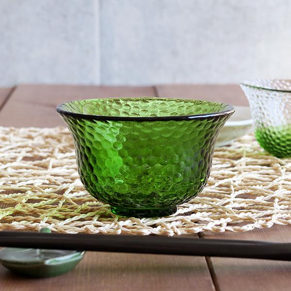 小鉢 ガラス製 水玉グリーン