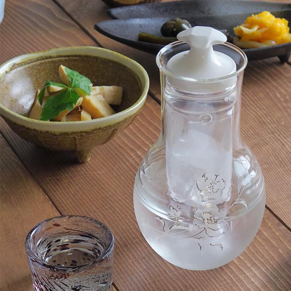 冷酒器 カーネーション ガラス製 保冷器付