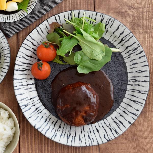 ゼブラ柄のようなモノトーンがかっこいい食器。日本製/美濃焼/カフェ風/ブラック/黒い食器 大皿 和食器 食器 おしゃれ 24cm 油滴ブラック お皿 大皿 皿 プレート 主菜皿 パスタ皿 サラダ皿 盛り皿 ワンプレート デザート皿 ディナープレート モダン カフェ食器 おうちCafe おしゃれな食器 plate