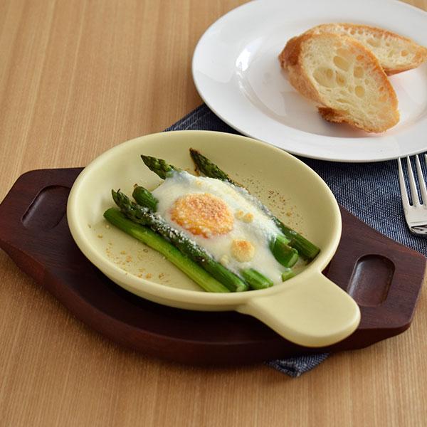 グラタン皿 黄 木製受皿付き