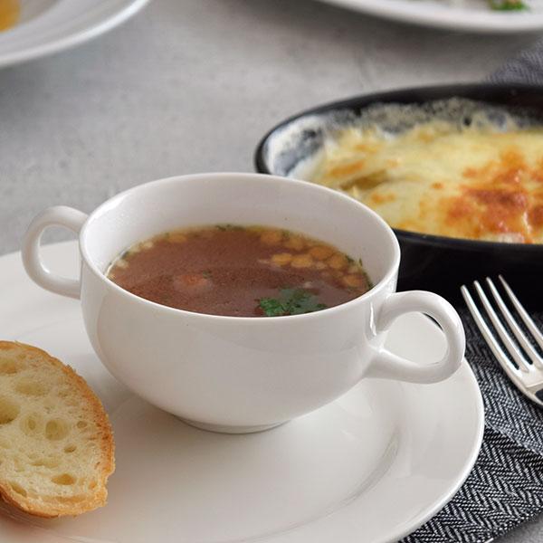 両手付きスープ碗 白