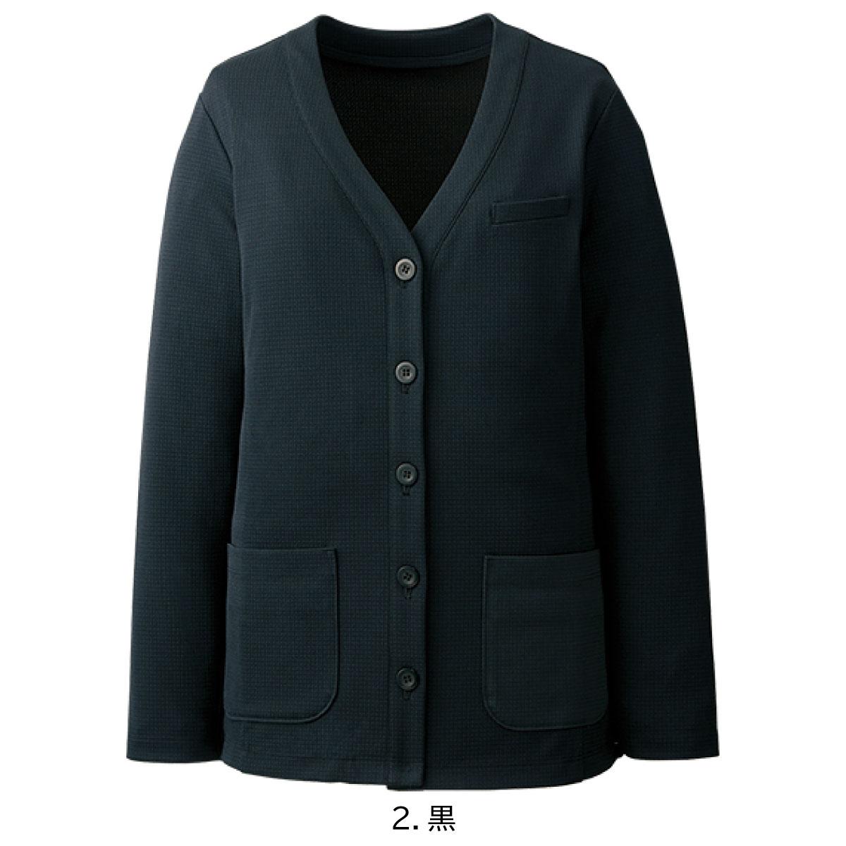 カーディガンジャケット AR9245 S~3L 女性用 アルファピア ALPHA PIER チクマ ブラック