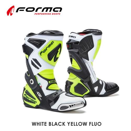 20年以上レーシングブーツを作り続けてきたFormaのレーシングブーツのトップモデルにFLOWが追加 Forma フォーマ レーシングブーツ ICE PRO アイスプロフロウ FLOW BLACK 別倉庫からの配送 YELLOW クリアランスsale!期間限定! FLUO WHITE