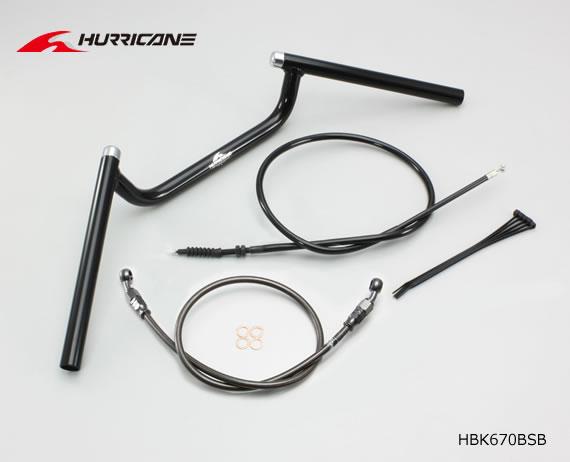 【ハリケーン】 Z250(13-14 ER250C)(ABS無車)用 コンドル ハンドルkit HBK670BSB  ALLブラック(フルステンレスブラックホース)
