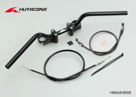 【ハリケーン】YZF-R25 BMコンチ2型 バーハンドルkit ALLブラック(フルステンレスブラックホース)  HBK684BSB