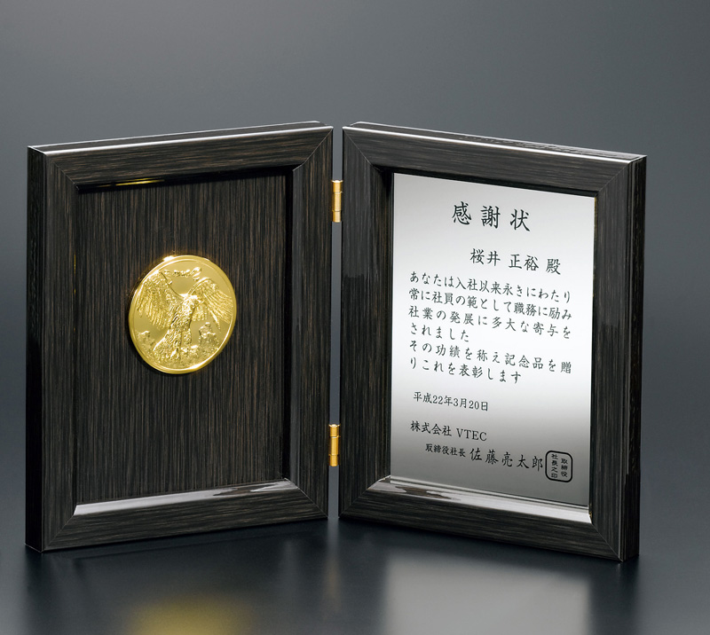 ブック型ミラー表彰楯 P15-04【250×200mm】【保存箱付】【送料無料】