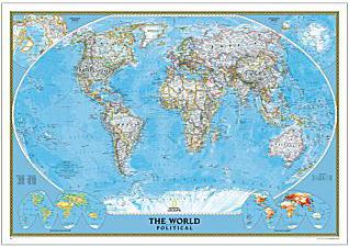 世界ウォールマップの代表格 特売 インテリアに最適な壁掛け用ポスタータイプ 世界地図クラシック ナショナルジオグラフィック製正規品 Classic 最安値に挑戦 World
